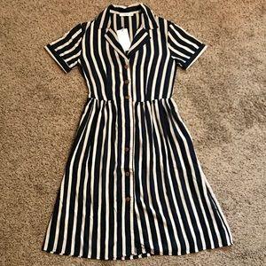 NEW MANGO navy & cream striped button down dress 2